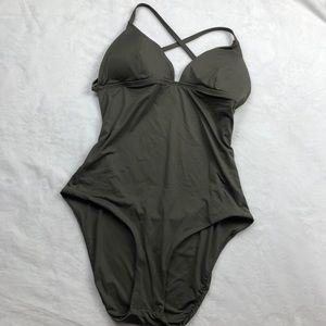 Vitamin A Naomi olive green swimsuit bikini nwot